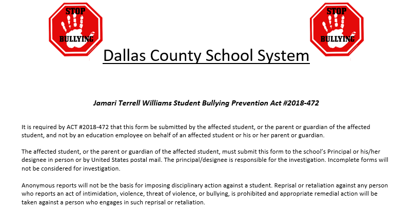 A stop Bullying Picture referencing Alabama Jamari Terrel Williams Student Bullying Prevention ACT#2018-472