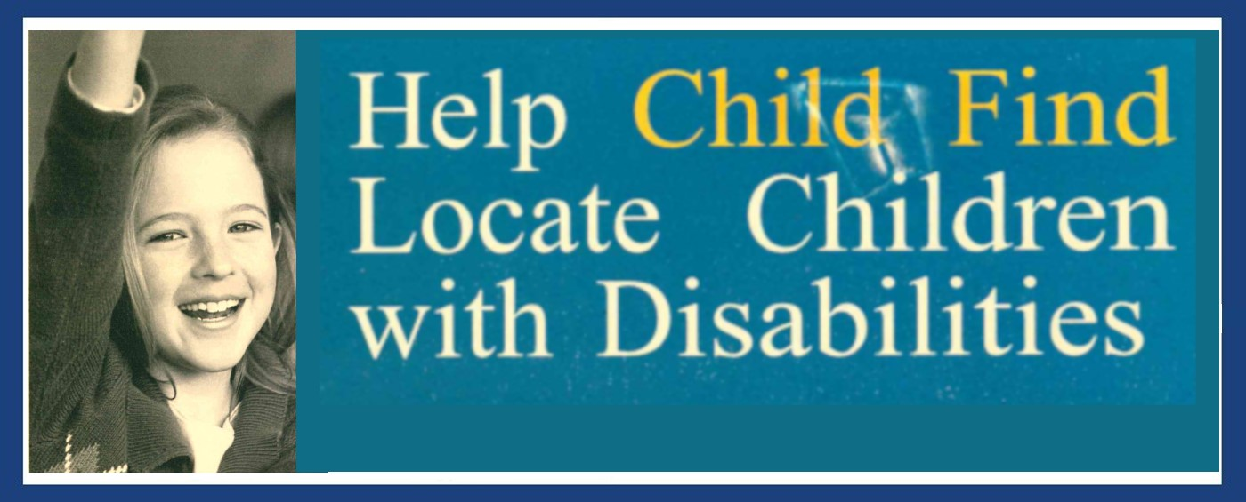 Banner Displaying Child Find Poster. Click Read more to be directed to a page with the information in text form.