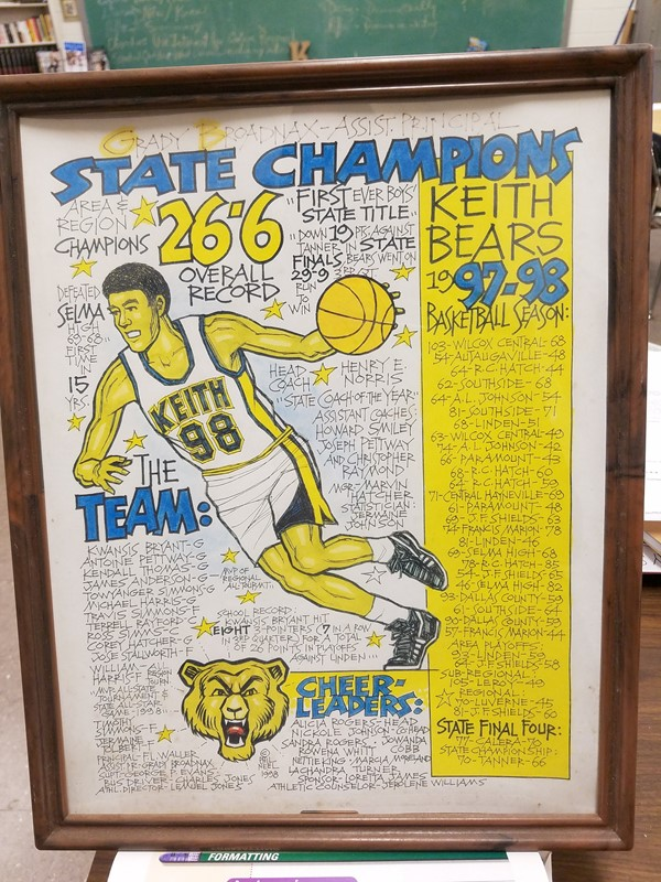 Poster Showing Keith High 97-98 Class 2a State Champion Team, Cheerleaders and Coaches