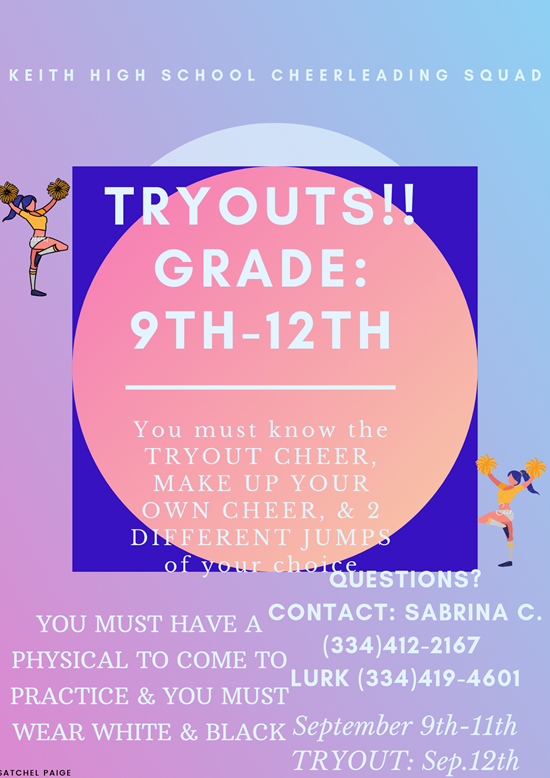 High school Cheerleader Tryouts Grades 9-12