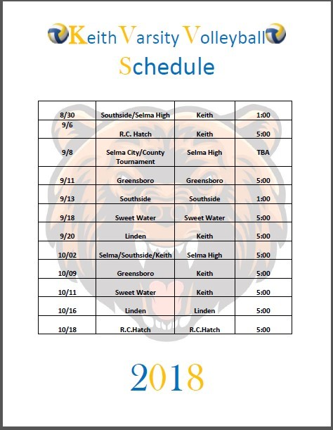 Keith High Varsity Volleyball Schedule