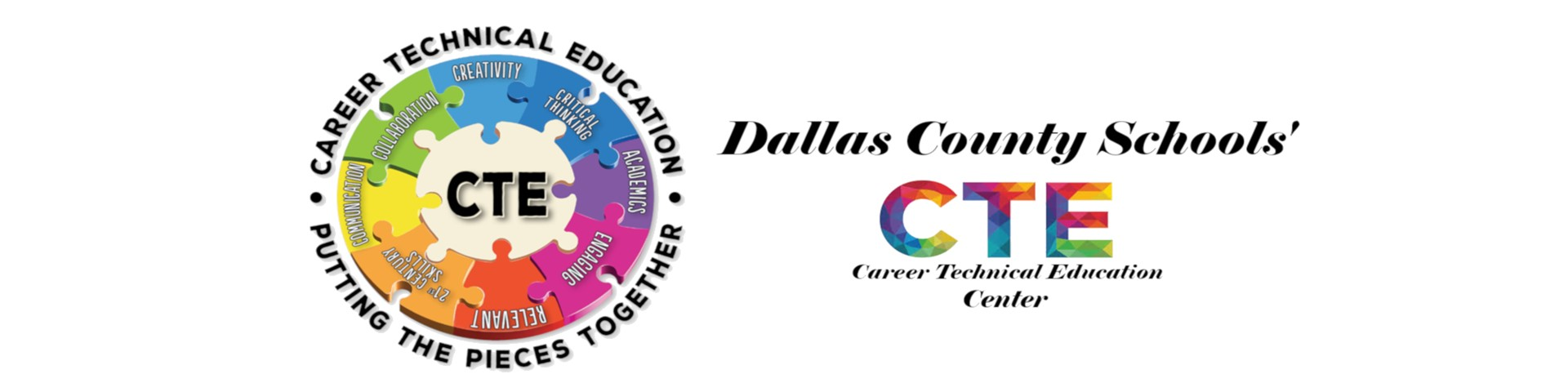 Banner that has Dallas County Career Technical Center with Puzzle Piece CTE Logo.