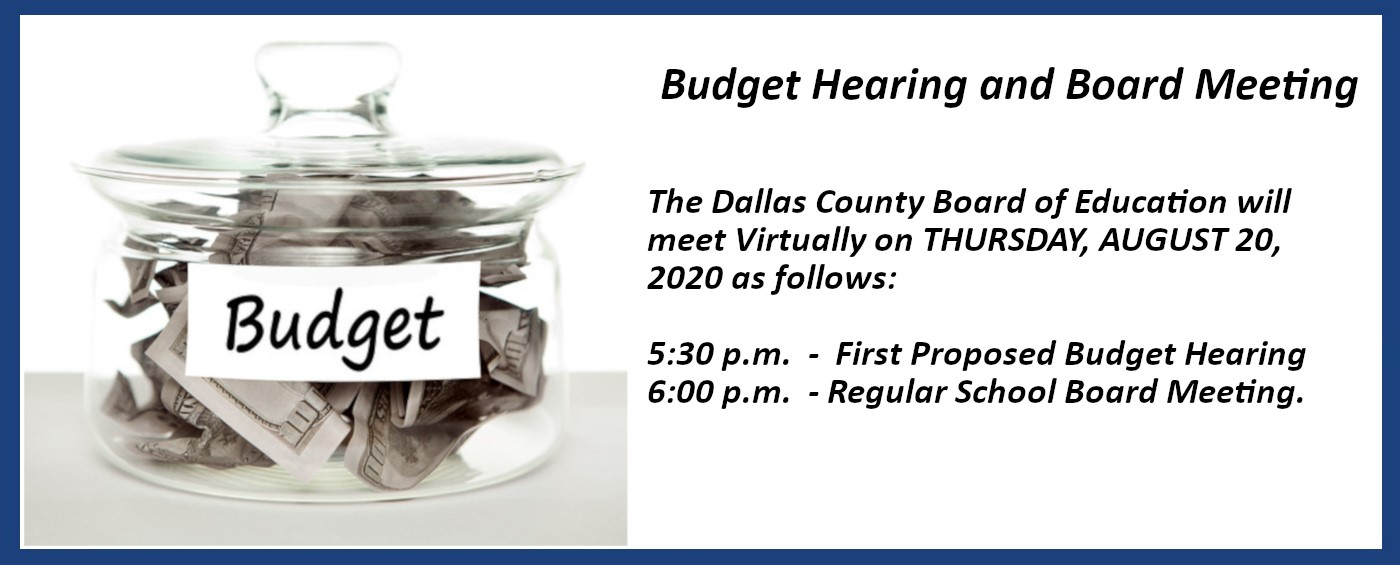 A notice detailing the time and date of the next Dallas County School Board meeting. Click More Information to be directed to a page with the information in text form