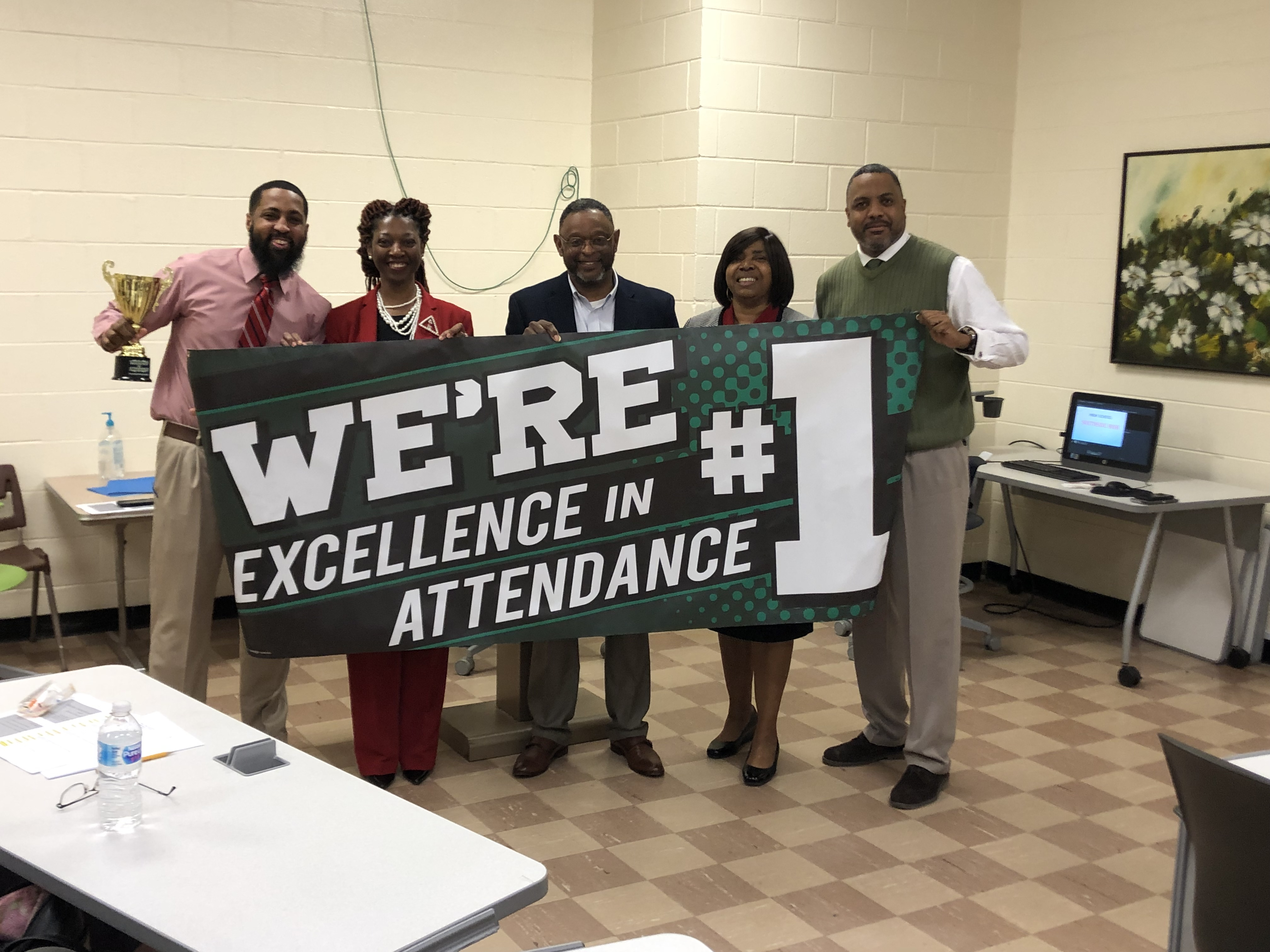Photo with Southside High School Admin Staff Celebrating Attendance Award