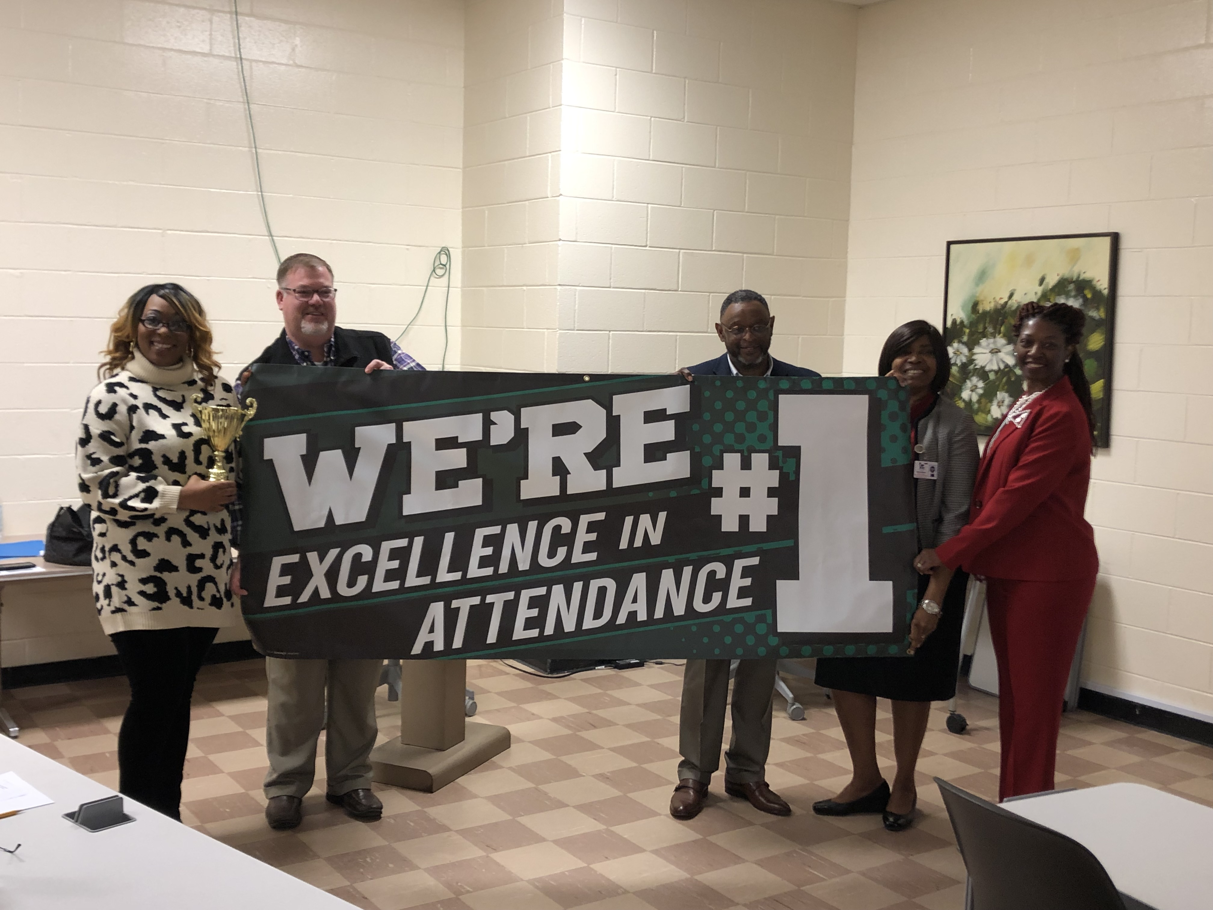 Photo with William Martin Middle School Admin Staff Celebrating Attendance Award