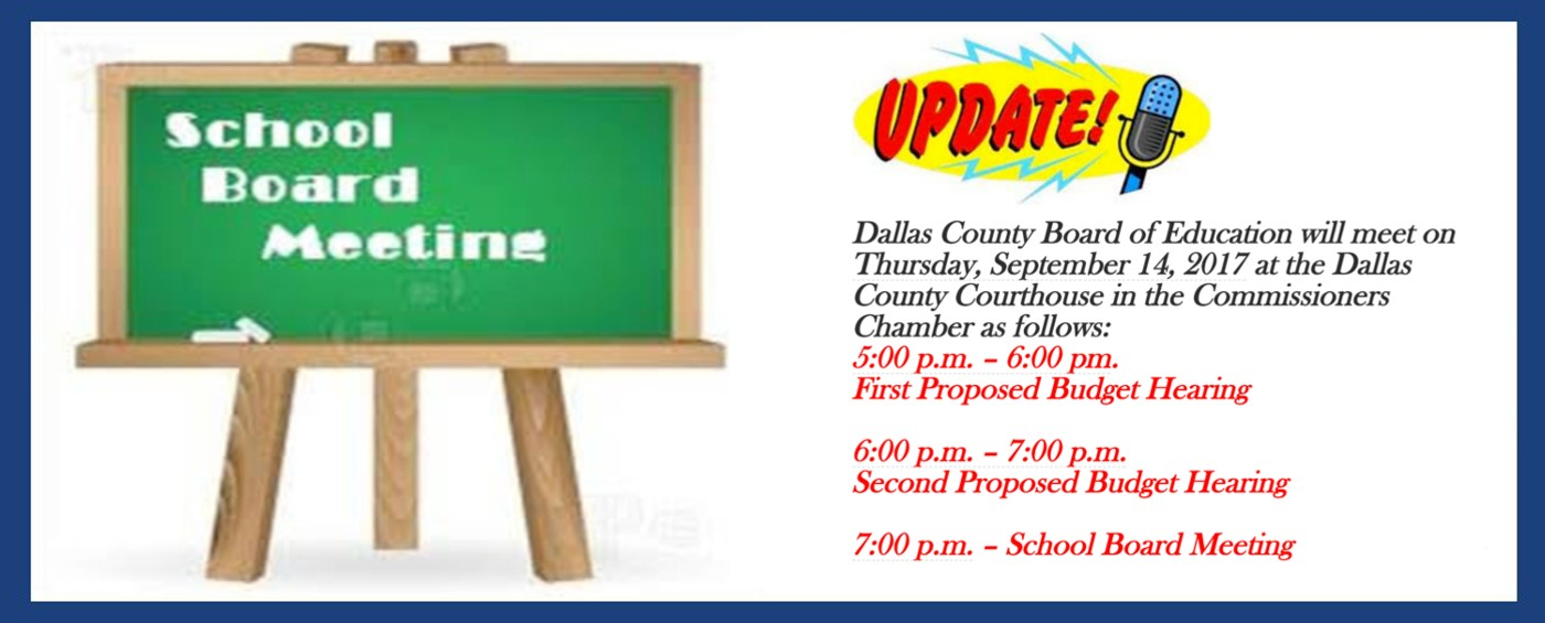 Dallas County Board Meeting Announcement. Follow the link to get to the article detailing Dates, Times, and Locations.