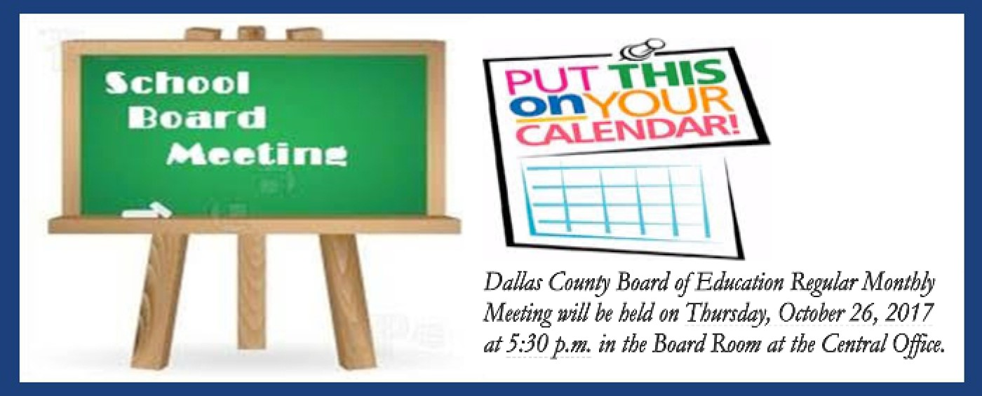 Image announcing the upcoming board meeting on October 26, 2017 @5:30 P.M. in the Central Office Board Room
