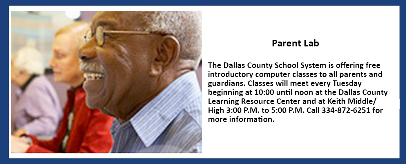 Information about introductory computer classes for parents and guardians. Call 334-872-6251 for times and locations.